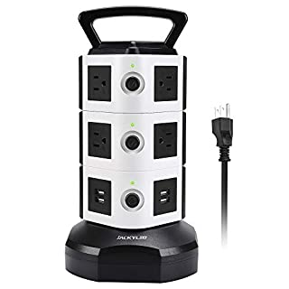 Power Strip Tower JACKYLED Surge Protector Electric Charging Station 3000W 13A 10 Outlets 4 USB Ports with 16AWG 6.5ft Heavy Duty Extension Cord for Home Office