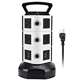 Power Strip Tower JACKYLED Surge Protector Electric Charging Station 3000W 13A 10 Outlets 4 USB Ports with 16AWG 6.5ft…