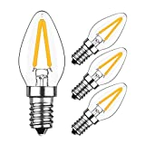 HzSane 2W LED Filament C7 Night Light Bulb, 2700K Warm White 200LM, E12 Candelabra Base Lamp C7 Mini Torpedo Shape, 15W Incandescent Replacement, Refrigerator Bulb, Non-dimmable, 4 Pack