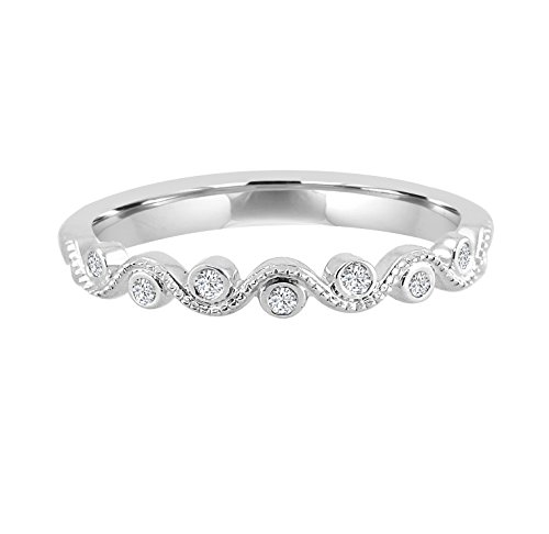 Samaya Jewels Bezel Set Diamond 10k White Gold Milgrain Stackable Wave Band - Wave Ring Diamond Gold