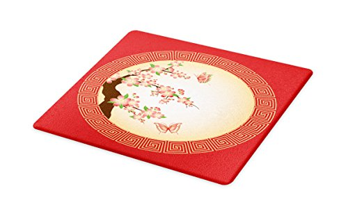 Lunarable Nature Cutting Board, Oriental Cherry Blossom Butterflies in Circle Frame Ornamental Arrangement Japan, Decorative Tempered Glass Cutting and Serving Board, Small Size, Coral ()
