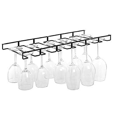 Modern Black Metal Wire Under Cabinet Stemware Wine Glasses Hanger Organizer Storage Holder Rack