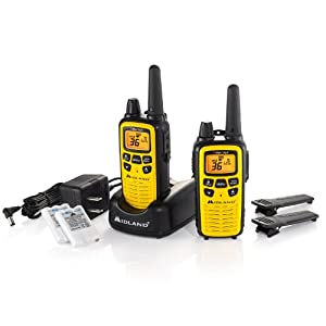 Midland LXT630VP3 36-Channel GMRS with 30-Mile Range NOAA Weather Alert, Rechargeable Batteries Charger in High Visibility Yellow Case