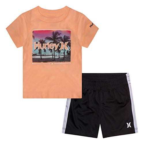 Hurley Baby Boys Graphic T-Shirt and Shorts 2-Piece Outfit Set, Bright Mango Heather, 12M -