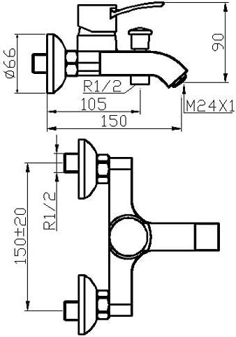 Cromado Boet 63555 Grifo Mezclador Exterior con Inversor para Ba/ño y Ducha