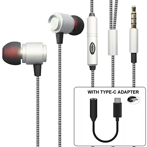 Hi-Fi Sound Hands-Free Headset with Mic Earphones Type-C Audio Adapter Headphones Jack Metal Earbuds [Silver] for Motorola Moto Z2 Force Z Force Droid (Silver Headset Motorola)