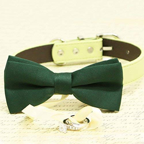 Dark Green Dog Bow Tie Collar, Ring Bearer, Pet Wedding, Proposal, Will you Marry me?