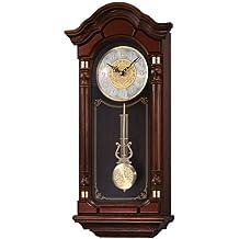 Seiko Wall Pendulum Clock Dark Brown Solid Oak Case with Hand-Rubbed Finish