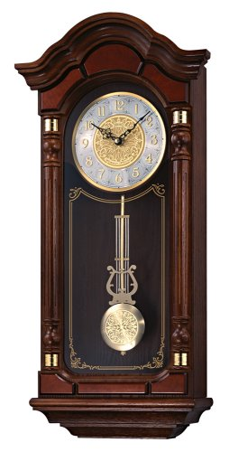 Seiko Wall Pendulum Clock Dark Brown Solid Oak Case with Hand-Rubbed Finish - Solid Brass Case