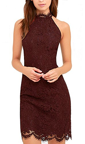 Zalalus Lace Dress, Elegant High Neck Sheath Wine Red Cocktail Dresses for Women Wedding Party US 4