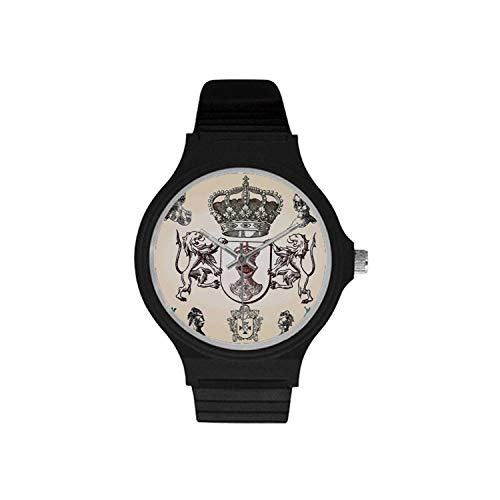 (Medieval Utility Unisex Round Plastic Watch,Shield Design with Various Ancient Figures Coat of Arms Blazon Crown Print for Daily,Case Diameter : 37mm )