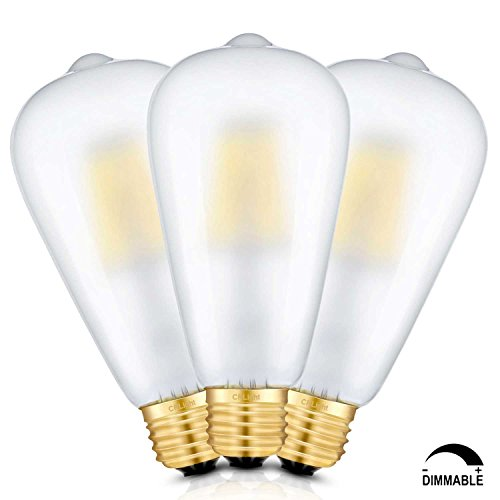 A19 Medium Frosted Base (CRLight LED Edison Bulb 8W 3200K Soft White 800LM Dimmable, 80W Equivalent E26 Medium Base, ST21(ST64) Vintage Frosted Glass LED Filament Bulbs, 360 Degrees Beam Angle, Pack of 3)