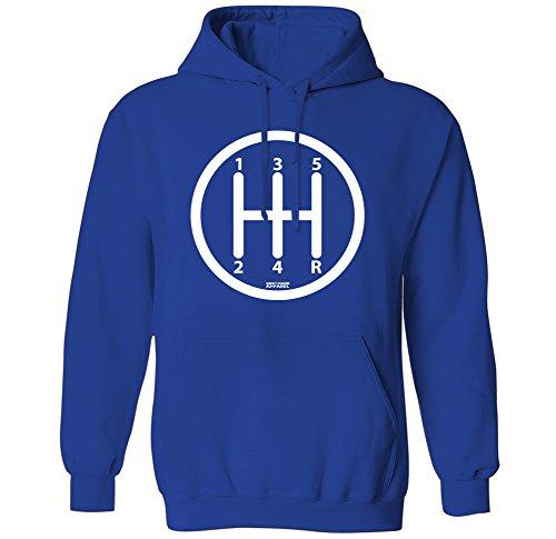 Gear Shift Knob Manual Transmission Driver Mens Hoodie Sweatshirt (Royal, (Automatic Pullover Hoody Sweatshirt)