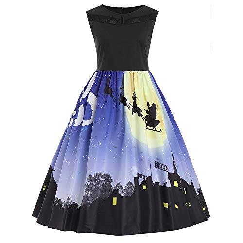 Womens Sleeveless Christmas Retro Printed Evening Prom Costume Sexy Dress KIKOY -