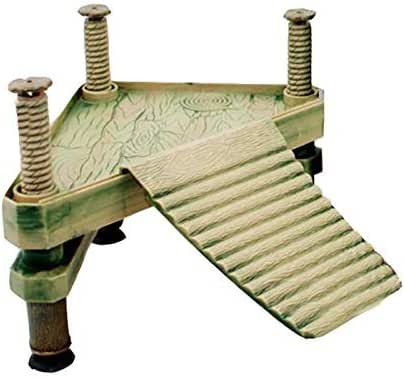 G Ganen Decorative Turtle Pier Floating Basking Platform with Ramp Ladder