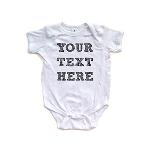 Apericots Cute 100% Fully Customizable Custom Customize Text Soft Cotton Baby (Text Infant Creeper)