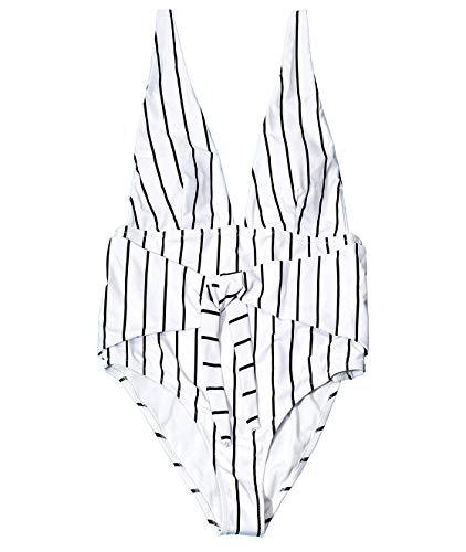 Gutapo Women's Elegance Black Stripe One-Piece Deep V Swimsuit Beach Swimwear Bathing Suit Bikini -