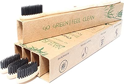 Bamboo Toothbrush - 4 Pack, Eco Friendly, Biodegradable, 100% Vegan With Amazing Charcoal Teeth Whitening - BPA Free, All Natural, Soft Medium Bristles for Sensitive Gums - Travel & Home Toothbrushes