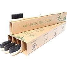Natural Alt Bamboo Toothbrush - 4 Pack, Eco Friendly, Biodegradable, 100% Vegan With Amazing Charcoal Teeth Whitening - BPA Free, All Natural, Soft Medium Bristles for Sensitive Gums - Travel & Home!