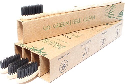 Natural Alt Bamboo Charcoal Toothbrush - 4 Pack, Eco Friendly, Biodegradable, 100% Vegan With Amazing Teeth Whitening - BPA Free, All Natural, Soft Medium Bristles for Sensitive Gums - Travel & Home!