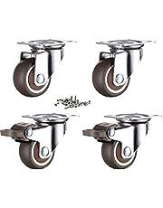 4 stuks meubelwielen 25 mm met schroeven remmen, rubberen transportwielen kleine zwenkwielen voor meubels zwenkwielen zware wielen voor palletmeubels (32 mm)