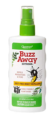 Quantum Health Buzz Away Extreme - DEET-free Insect Repellent, Essential Oil Bug Spray - Small Children and Up, Travel Friendly, 4 Fl Oz (Quantum Natural Insect Repellents)