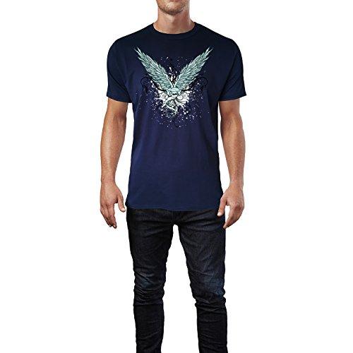 SINUS ART ® Grunge Flügel mit Ornamenten Herren T-Shirts in Navy Blau Fun Shirt mit tollen Aufdruck