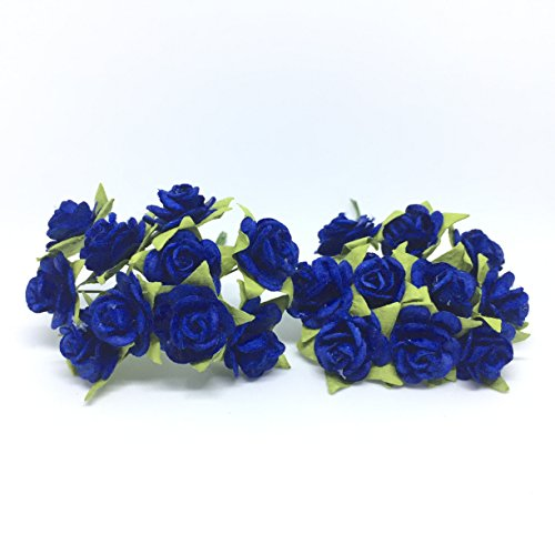 100 (Dark Blue) Mulberry Paper Mini Rose Miniature Craft DIY Tiny Tree scrapbooking wedding doll house supplies - Christmas Guster Song