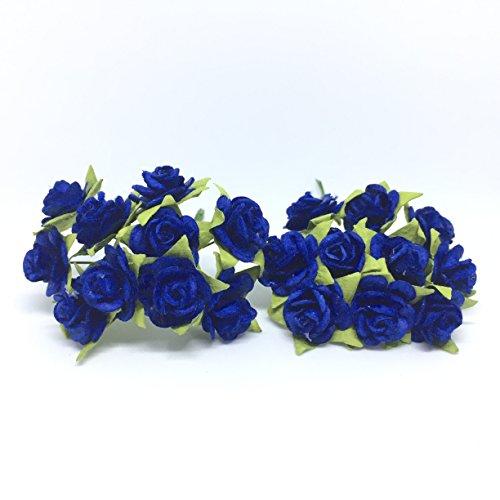 100 (Dark Blue) Mulberry Paper Mini Rose Miniature Craft DIY Tiny Tree scrapbooking wedding doll house supplies ()