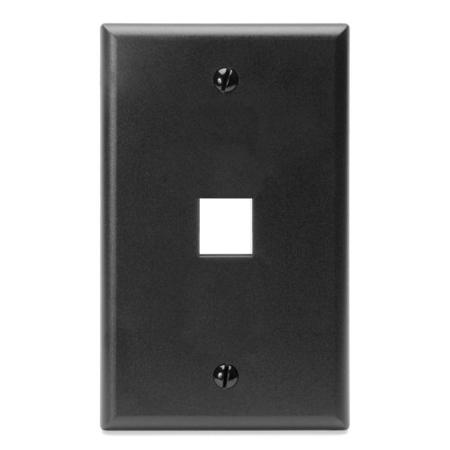 (Leviton 41080-1EP QuickPort Wallplate, Single Gang, 1-Port, Black)