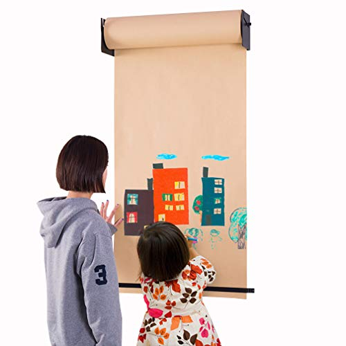 - Hershii Wall Mounted Hanging Easel Novelty Kids Toy Adult DIY Drawing Note Kraft Paper Roll and Black Bracket Holder Home Decoration for Children Bedroom, Artist Studio, Living Room, Study, Cafe Shop