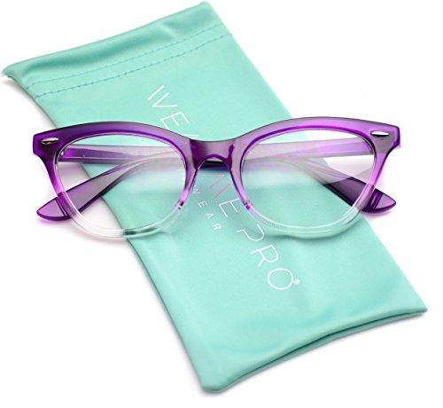 WearMe Pro - Fashion Vintage Womens Clear Lens Cat Eye Glasses (Gradient Purple Frame, - Frames Purple Glass