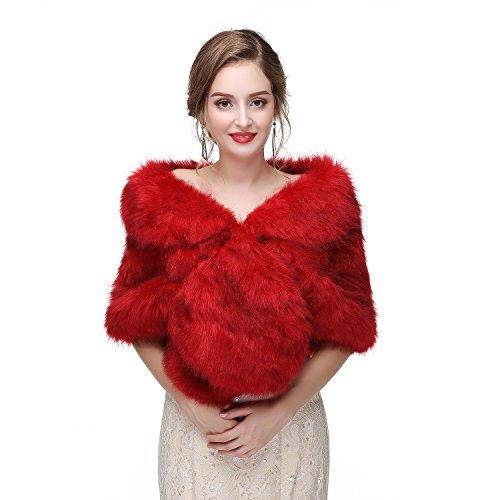 Limeng Women's Faux Fur Shawl Shrug Red Universal Girl Fox Wraps