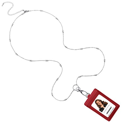 Victoria Convertible Necklace Fashion Lanyard with Stainless Steel Chain & Genuine Leather ID Badge Holder. 3 Card Pockets. Adjustable 18-22''' with 4'' Detachable Extender. Wine Red Holder