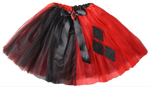 [Southern Wrag Company Girls to Plus Size Adult RED BLACK Harlequin Tutu LONG 16in (XXL: TUTU WAIST] (Rave Monster Costume)