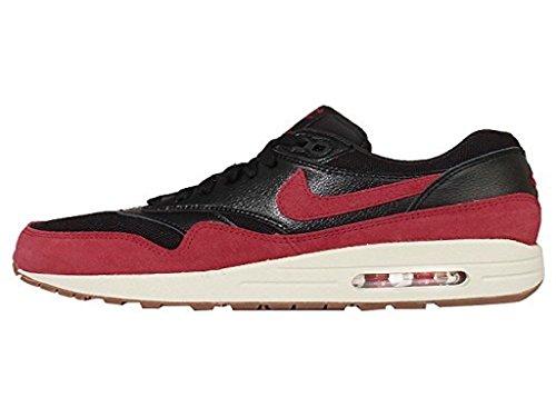 Femmes Nike Air Max 1 Course / Chaussure De Mode Noir / Voile / Gomme Med Brun / Rouge Gym