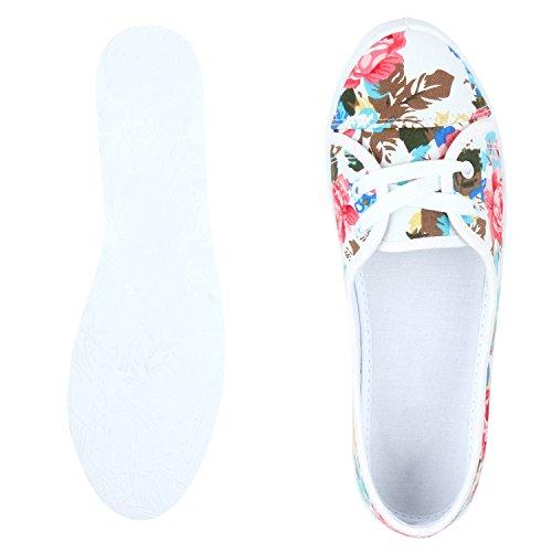 Sportliche Damen Ballerinas Bequeme Basic Schuhe Stoff Flats Aus angenehmen Obermaterial Gr. 36-41 Weiss Muster