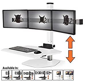 stand steady winston workstation triple monitor mount sit stand desk innovative. Black Bedroom Furniture Sets. Home Design Ideas