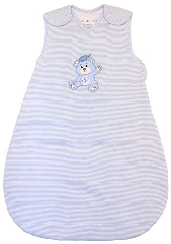 Baby Sleeping Bag Blue and White Stripes, Winter Model, 2.5 Togs, (Medium (10 - 24 mos))