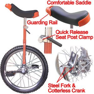 "18"" in Wheel Unicycle Exercise Leakproof Tire Cycling Orange w Storage Stand"