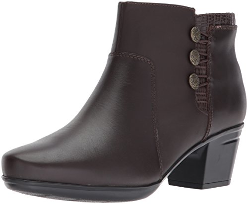 CLARKS Women's Emslie Monet Ankle Bootie, Dark Brown Leather, 10 M US