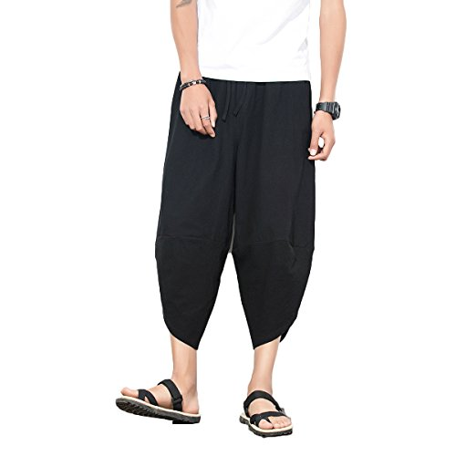 INVACHI Mens Casual Elastic Waist Linen Capri Wide Leg Baggy Harem Pants Trousers With Back Pockets and Special Designed Narrow Ankles Available ,Black,Medium