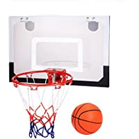 Leoneva Indoor Outdoor Wall Mount or Over-The-Door Hanging Basketball Hoop Set System Home Bedroom Office Livingroom for Kids Boy Girl Teen Adult with Ball and Pump