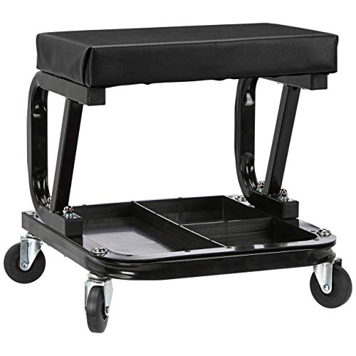 AmazonBasics Rolling Creeper, Garage/Shop Seat with 300 lb Capacity – Black