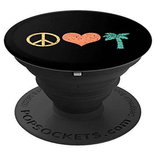 Peace Love Palm Trees Summer Vacation Relaxation Beach - PopSockets Grip and Stand for Phones and ()