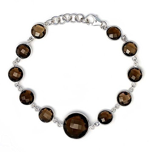 (Gem Stone King 25.00 Ct 925 Sterling Silver Smokey Quartz 8MM With 14MM Center Stone Tennis Bracelet 7 Inches + 1 Inch extender )