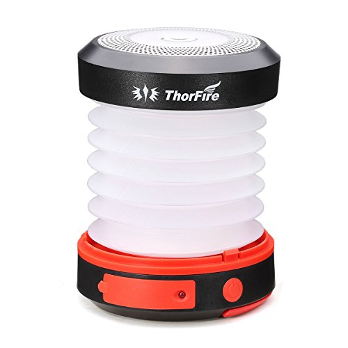 ThorFire Solar LED Camping Lantern USB Rechargeable Flashlight Torch Mini Lamp with Handle Collapsible Rainproof