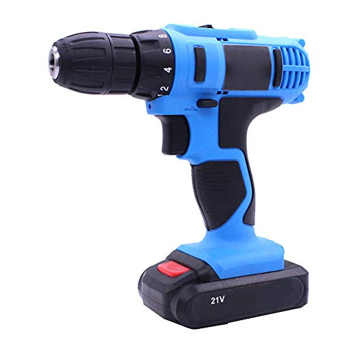 JHHXW Hand Drill 21V Two-Speed Flat Push Rechargeable Hand Drill Multi-Function Household Lithium Drill Gun Type Mini Electric Screwdriver Electric Screwdriver,Blue,UK