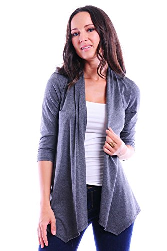 Simply Ravishing SR Women's Basic 3/4 Sleeve Open Cardigan (Size: Small-5X), 1X, Charcoal (3/4 Birthday Sleeve)