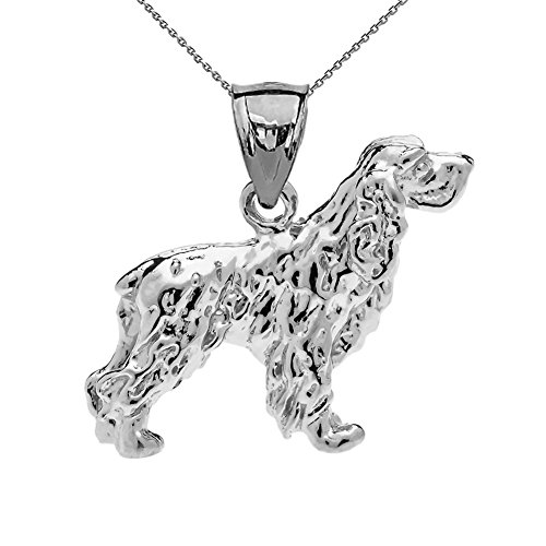 Solid Sterling Silver Cocker Spaniel Charm Pendant Necklace with 20